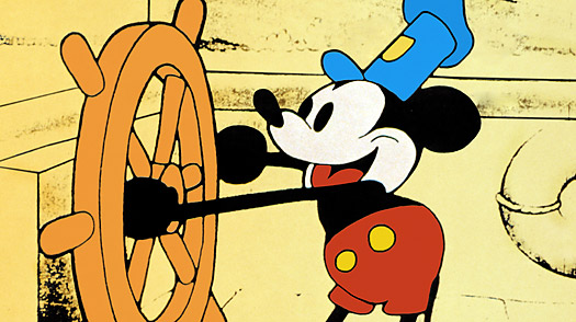 Fra Steamoat Willie den første Mickey Mouse-film, farvelagt