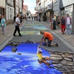 Nikolaj Arndt cliffhanger neustadt streetart festival 3d art perspective germany