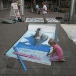 Nikolaj Arndt knut polar bear 3d painting  chalk art perspective