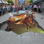 Nikolaj Arndt wilhelmshaven2012 escape horse chalk painting drawing perspective 3d